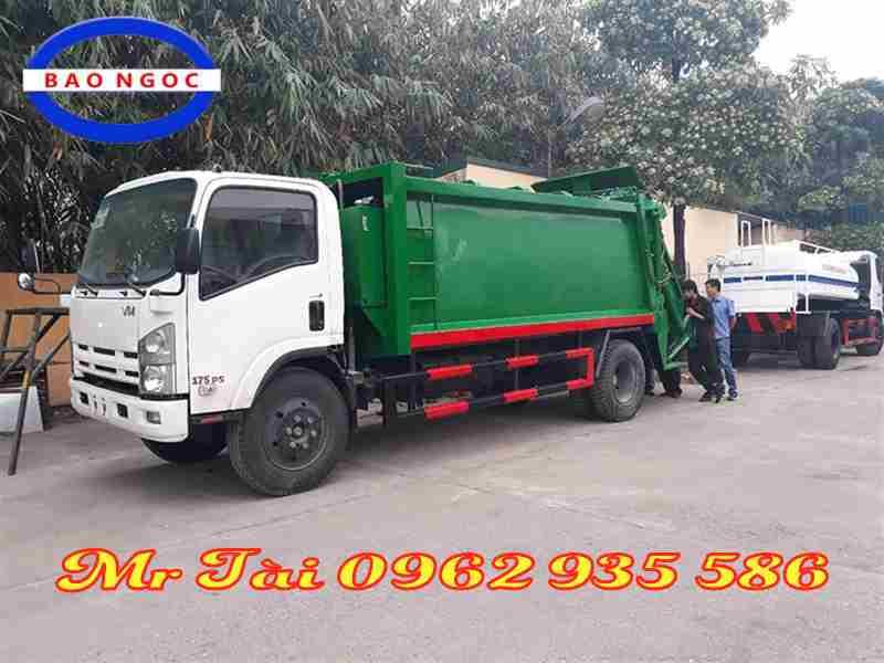 Xe chở rác thùng rời hooklift Isuzu 12 khối