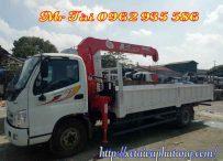 Xe tải thaco ollin 700B gắn cẩu tự hành unic 3 tấn 4 đốt